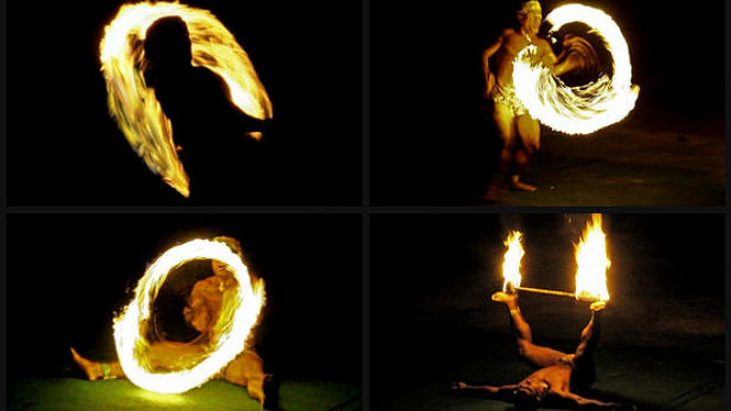 Four different pictures of Samoan fire knife dancers