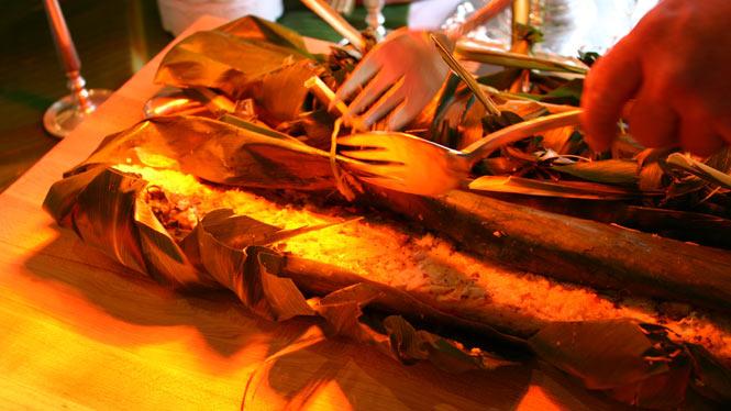 Serving local cuisine at Hawaii food festival