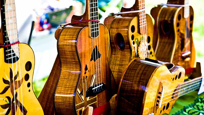 Custom ukuleles on display