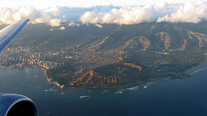 Leaving Oahu on a airplane