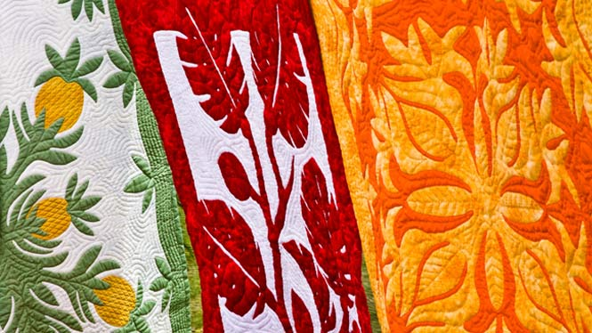 Several Hawaiian quilts hanging