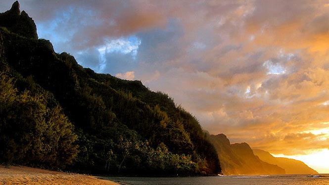 Napali Coast at sunset