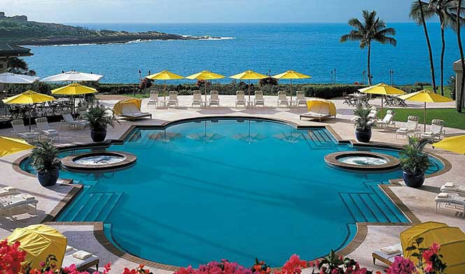 Poolside at the Manele resort