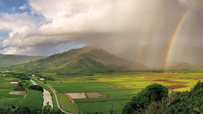 raining on Hanalei, rainbow