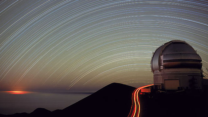 Star trails over Mauna Kea observatory