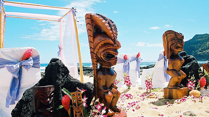 Tikis on the beach