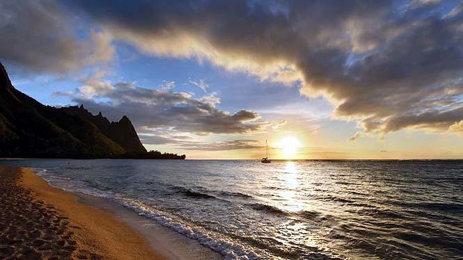 Sunset over Tunnels beach