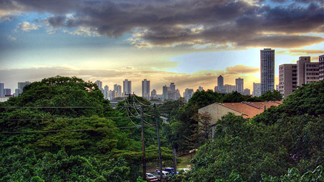View of Honolulu from UH Manoa