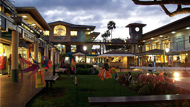 whalers village shopping center at night