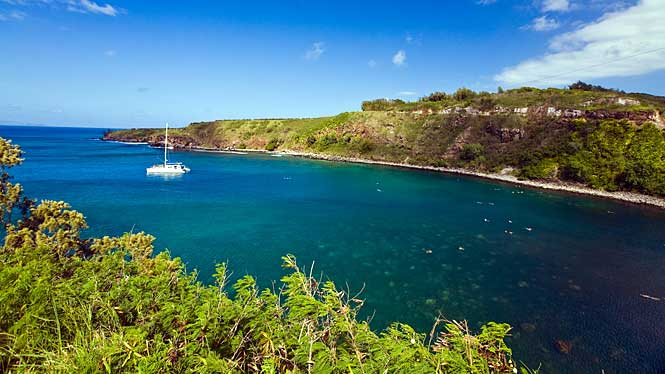 Honolua Bay, a protected area that is abundant with sea life, with catamaran floating amidst the beautiful coral reef
