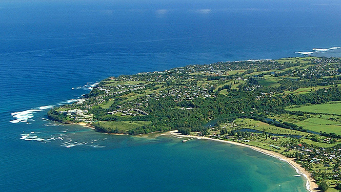 Princeville is perched above Hanalei Bay