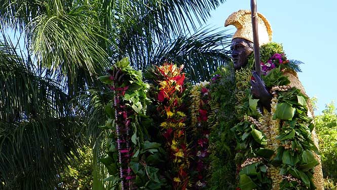 King Kamehameha statue draped in fresh leis