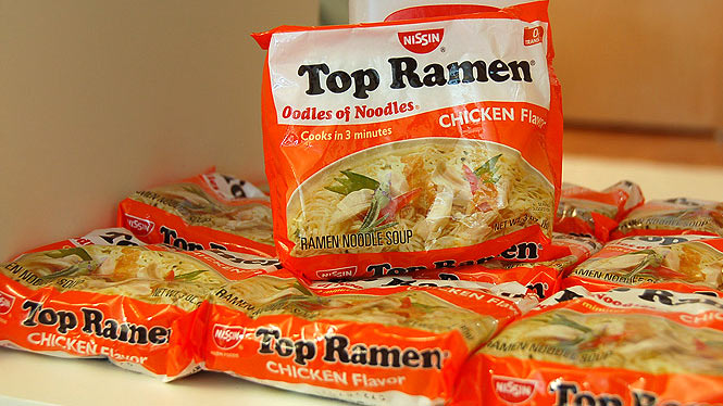 Packages of Top Ramen noodles