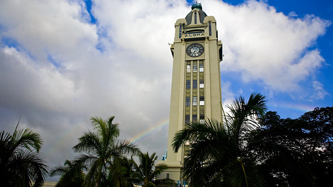 Aloha Tower with rainbow