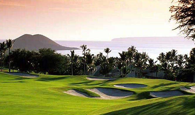 Grand Wailea golf course at sunset