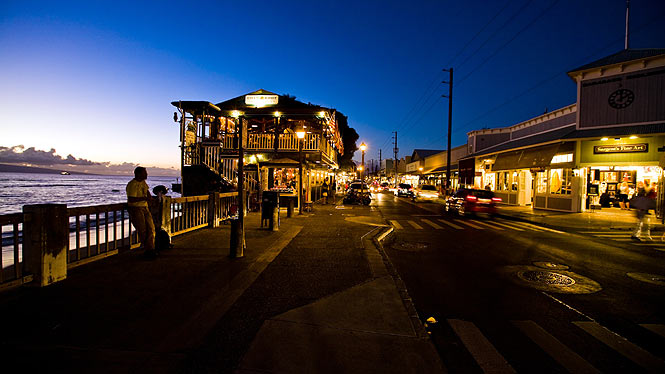 Lahaina as the sun sets and the stars come out