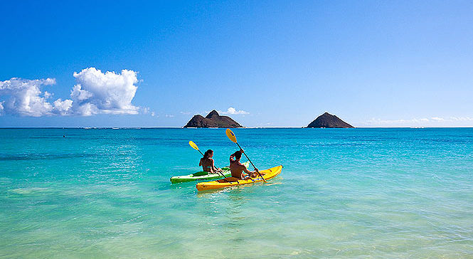 kayaking off of lanikai beach