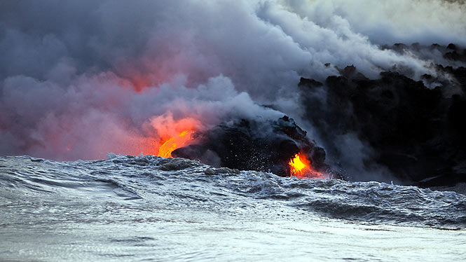 lava cooling in the ocean