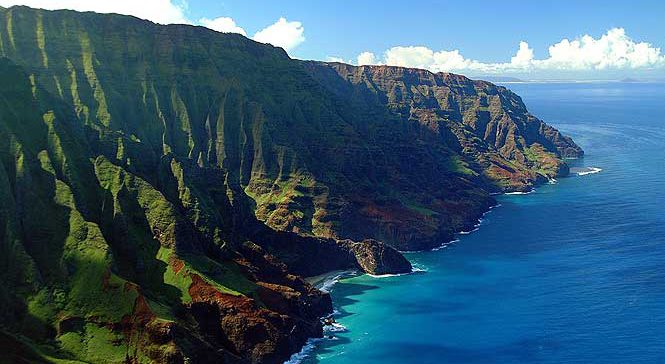 aerial view of the Napali coast on Kauai