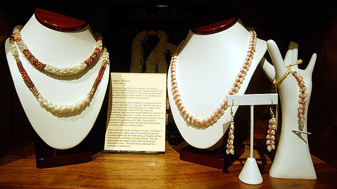 Display of Niihau shell leis