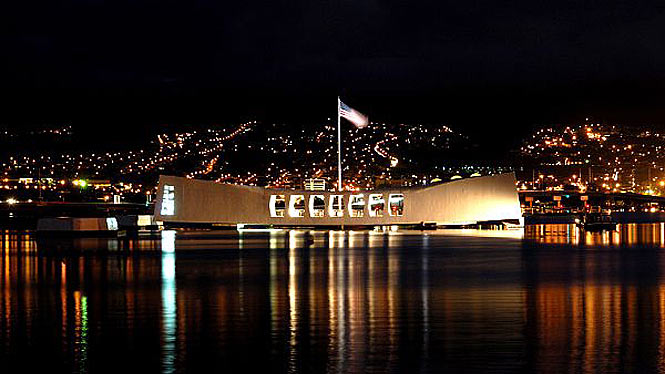 USS arizona memorial at pearl harbor at night