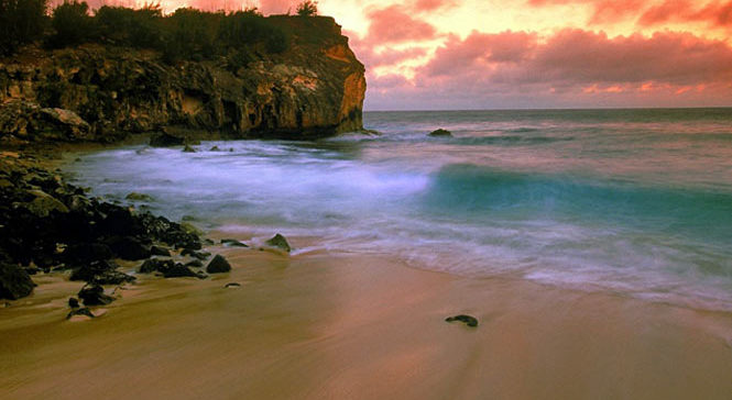 Shipwreck beach Poipu at sunset
