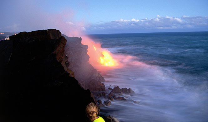 Lava from the Kilauea volcano meeting the ocean