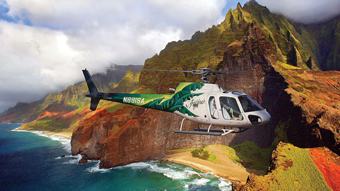 Safari Helicopters over Na Pali on a Kauai helicopter tour