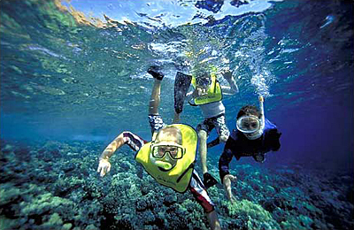 2 people enjoying snorkeling Molokini
