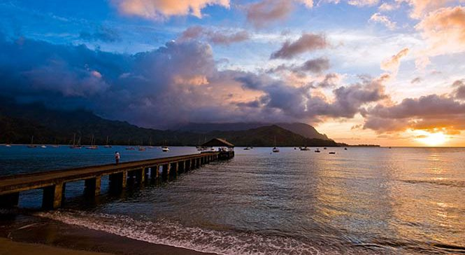 Hanalei Bay Pier at sunset