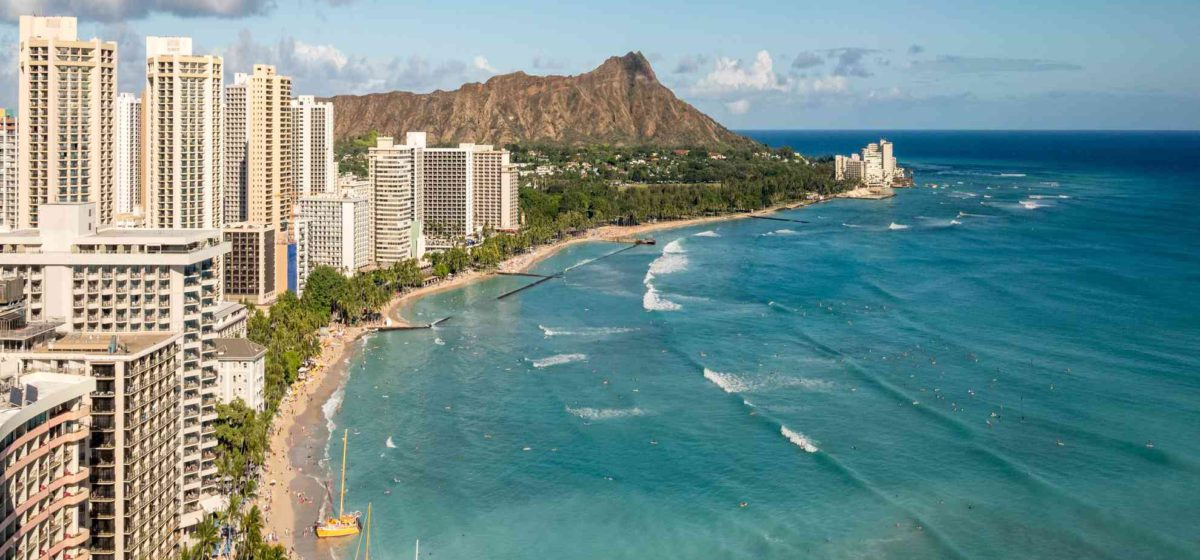 aerial view of diamond head and waikiki beach during the daytime