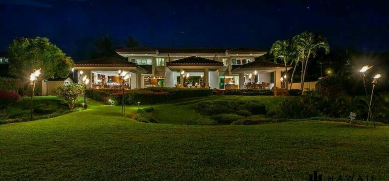 Kai Ala Luxury Hawaii Vacation Rental Home on Kaanapali at night