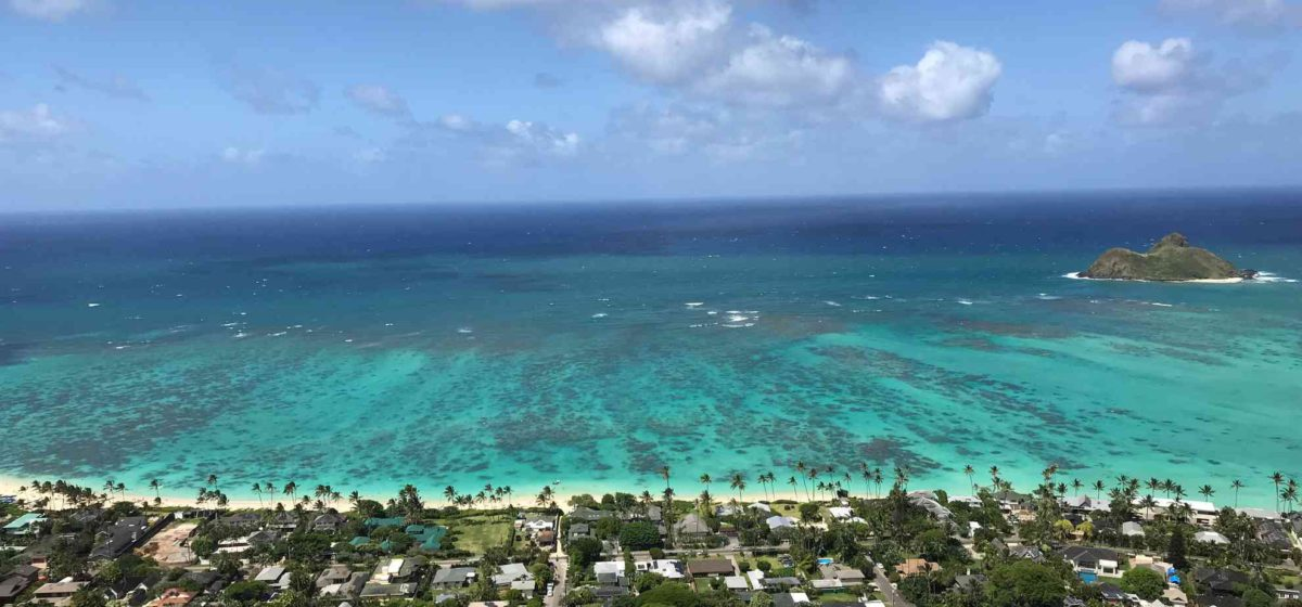 Kailua from the sky with ocean and the beach