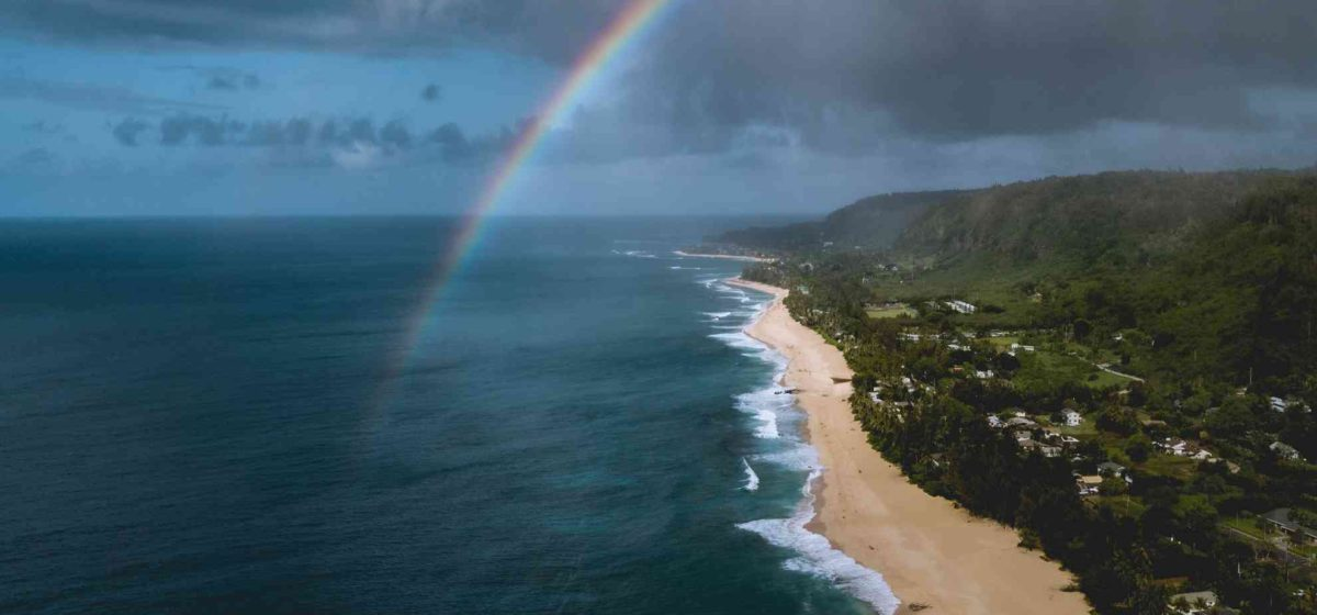 North shore aerial view with rainbow and beach