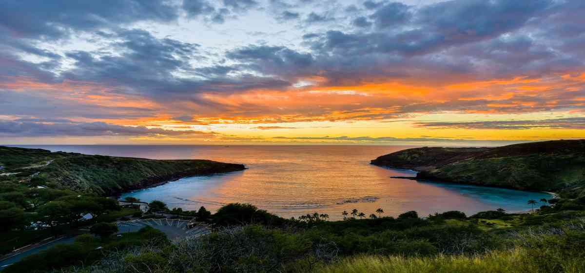 hanauma bay at sunset from rim