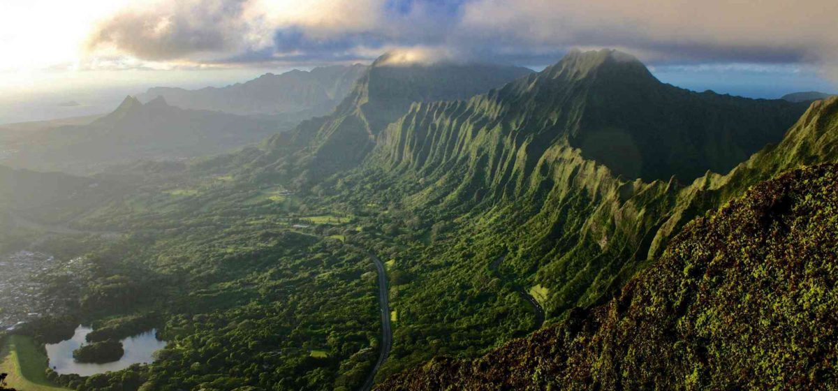 Kaneohe Oahu from the sky