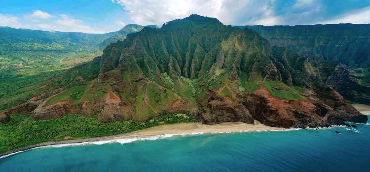 Napali Coast, Kauai from above.