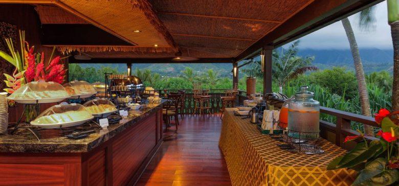 Beautiful view of the Lanai breakfast with view of the Koolau Mountain range.