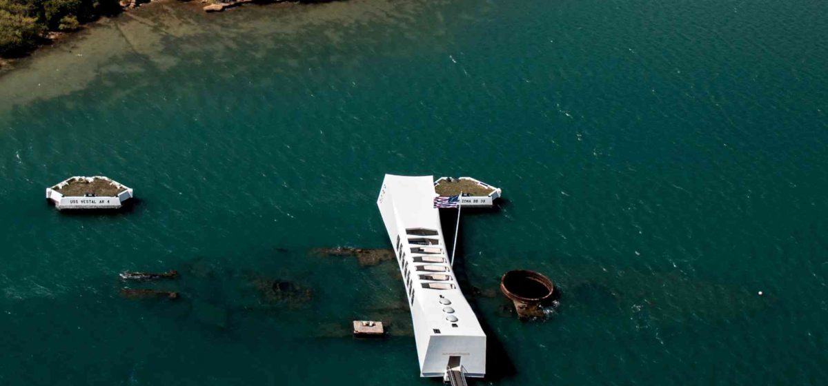 uss arizona memorial from the sky