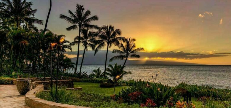 Sunset from the beach access area at honoapiilani vacation rental