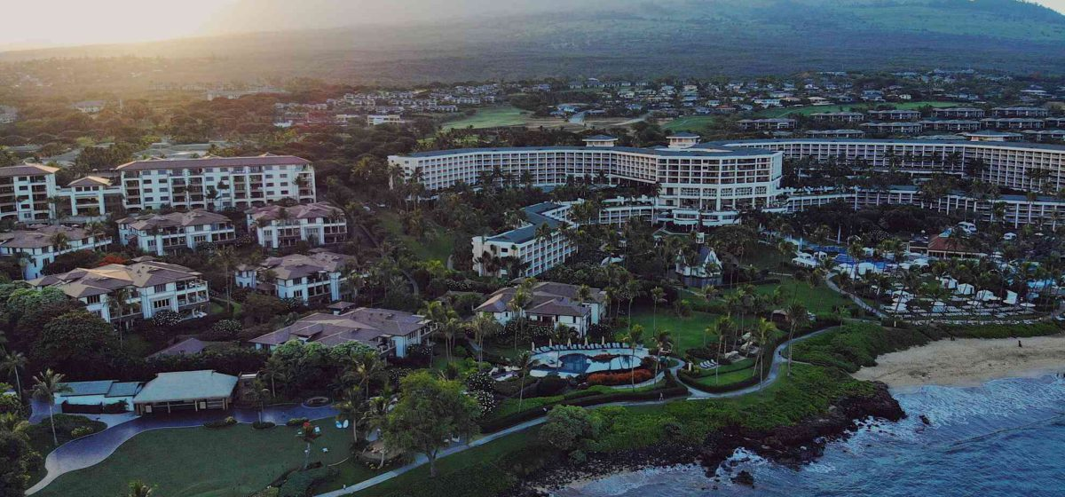 wailea beach resort from the sky